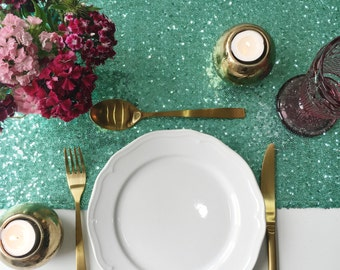 Mint Blush Sequin Table Runner, Sequin Tablecloth, Sequin Linen, Sequin Mint Table Runner, Sequins