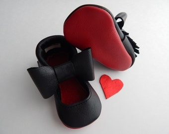 "Leather Red Bottom ""Louie"" Baby/ Toddler  MaryJane/ Flats/baby shoes/toddler shoes/moccasins"