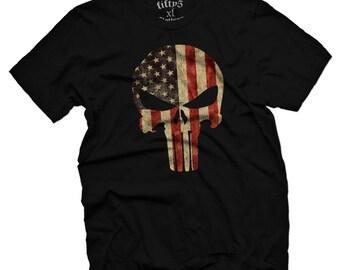 American Flag Punisher Skull Men's T Shirt