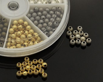 Star Dust Spacer Beads * Brass *  Nickel Free * 350 pieces * 4mm * Bead Box Set Kit 040 *