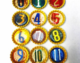 By the numbers Bottle Cap Magnets-set of 12