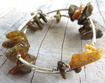 Raw Amber Bracelet. Charming and fashionable bracelet.