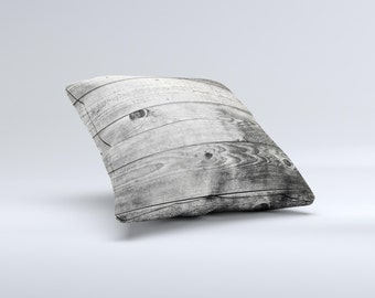 The Dark Washed Wood Planks ink-Fuzed Decorative Throw Pillow