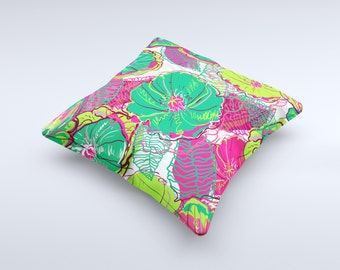 The Vibrant Green & Coral Floral Sketched ink-Fuzed Decorative Throw Pillow