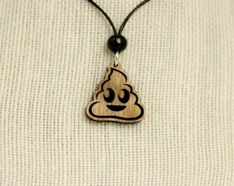 Poo Emoji Wooden Charm Necklace -  Poop Emoji Charm Necklace - Pile of Poop Emoji Necklace - Poop Engraved Wooden Charm