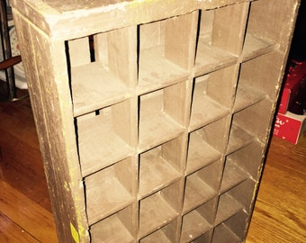 Vntg 24 Section  Divided Wood Crate Painted Brown-primitive