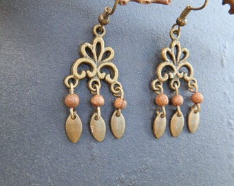 Lotus Style ethnic, exotic wood earrings