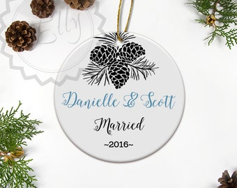 First Christmas Ornament Married,  Christmas Ornament Date, Personalized Ornament Decoration, Wedding Charms, Newlywed Gift, Weddings - 097