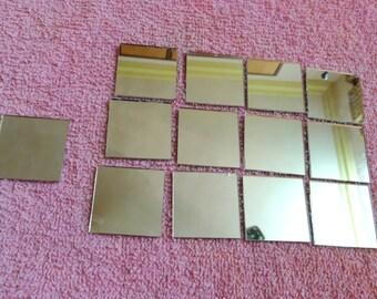 "30 pcs Mirrors for Craft, Square Mirrors, Glass Mirrors, Shisha Mirrors, Craft Supplies - 1.5 """