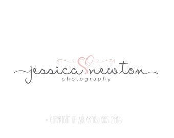 Photography logo design photography Watermark heart logo. Instant download digital download psd file calligraphy script font