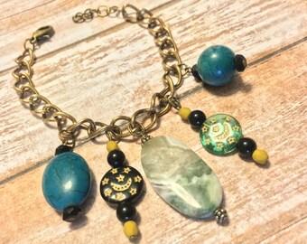 Jade Drop Charm Bracelet
