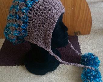 Blue & Beige Slouchy Hat