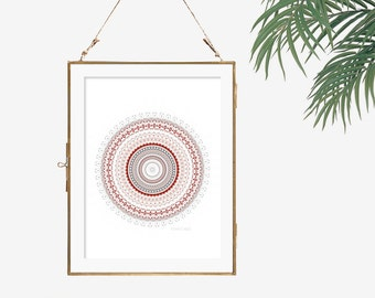 Modern apartment wall art print grey wall decor dark red marsala color white geometric artwork home office decor mandala poster abstract art