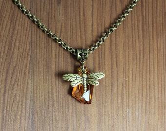 Dragonfly and Amber ~ Swarovski crystal necklace ~ Outlander inspired