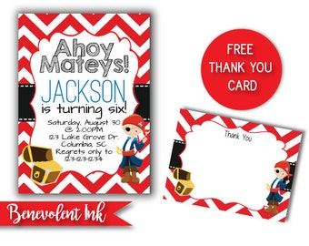 Pirate Birthday Invitation - Printable Birthday Boy Invite - Pirate Theme Party - FREE Thank You Card Included