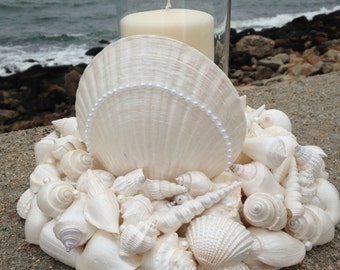 Wedding Centerpiece - Beach Decor - Shell Wreath With Candle (WCL010)