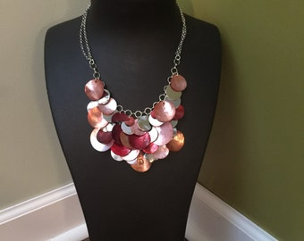 Red copper and silver necklace
