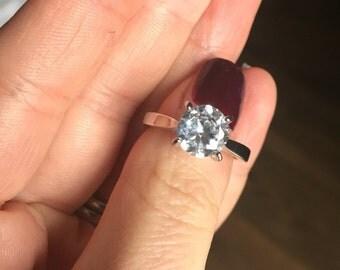 Solitaire Diamond Engagement Ring 2 carat Lab Diamond various sizes