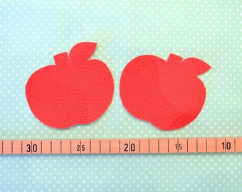 2 iron-on patches Apple red leather
