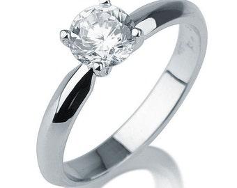 1.7 CT Solitaire Diamond Engagement Ring Platinum Round F SI1 Model 9758