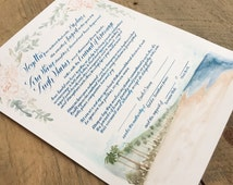 Custom marriage agreement, contract / ketubah, any size. Calligraphy and watercolor custom design