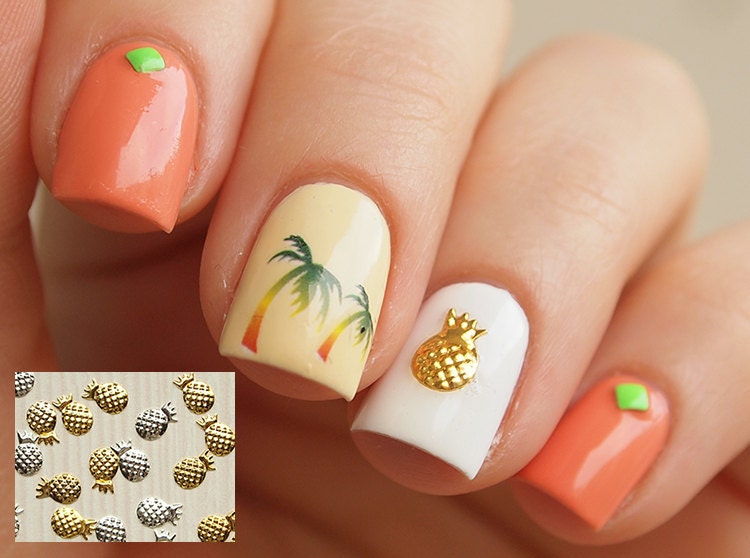 20 pcs of gold or silver pineapple nail charms 3d nail