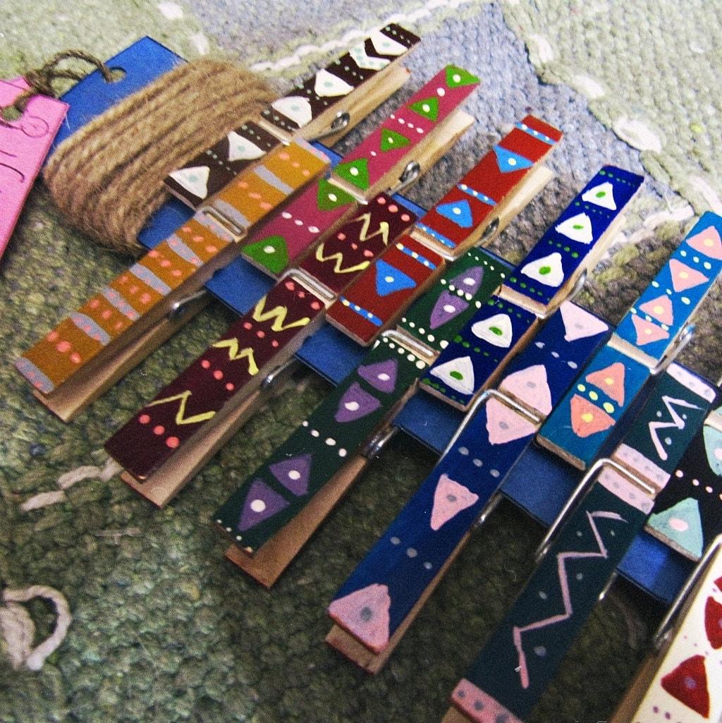 Boho Clothespins Photo Display Aztec Pattern Clothespins