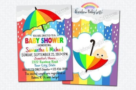Rainbow Baby Shower Invitations