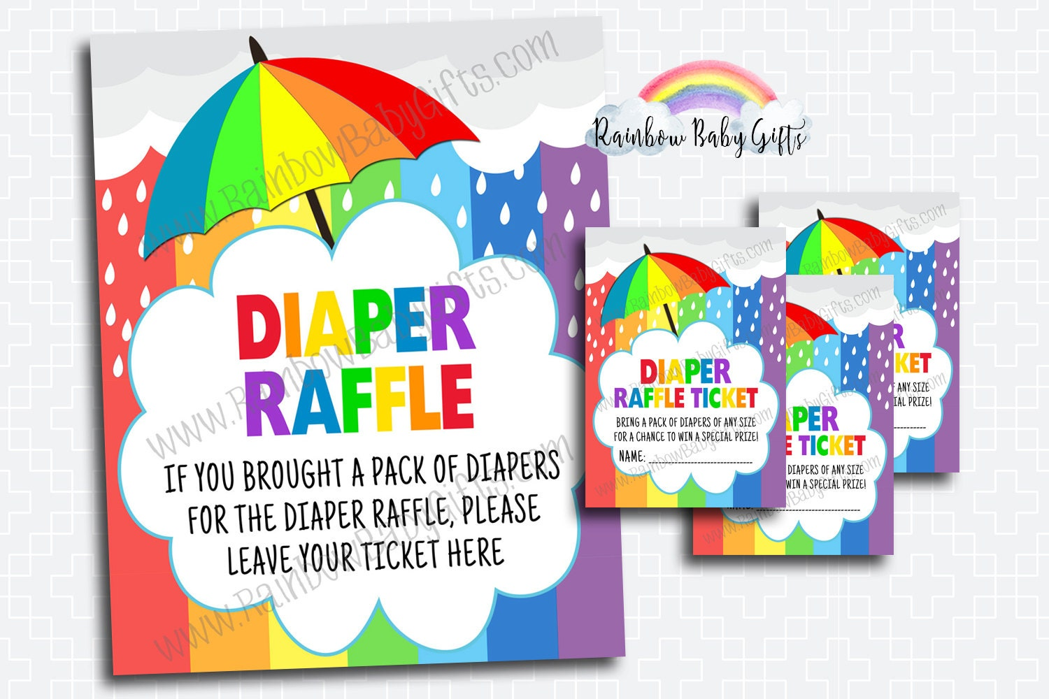 rainbow baby shower diaper raffle tickets and diaper raffle