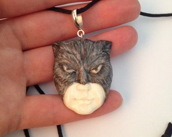 Vintage/Retro Style Resin/Sterling Cat Woman Pendant