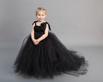 Flower girl dress - Tulle flower girl dress - Black Dress - Tulle dress - Pageant dress - Princess dress - Black flower  girl dress