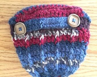 Fair Isle crocheted newsboy cap