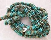 Natural Turquoise Heishi Beads, Genuine Turquoise, Full, Half, Quarter Strand Pricing, Large Heishi Beads, December Birthstone, Unisex