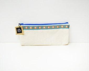 Orange Blue Canvas Make Up Bag /  Pencil Case
