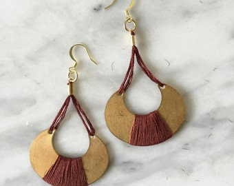 Autumn 001 Fiber Earrings // Tassel Earrings