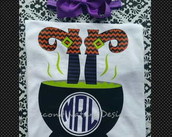 Girl's Halloween Witch Cauldron Onesie Gift Set / Halloween Monogram Witch Legs Shirt Set / Girl's Monogram Halloween Outfit
