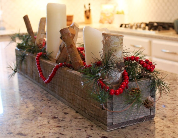 Rustic barn wood quot planter box centerpiece mantle