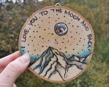 """Wall Hanging """"love you to the moon & back"""" . Wood Burn Art"""