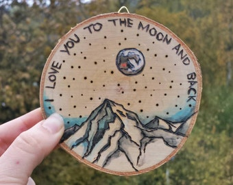 "Wall Hanging ""love you to the moon & back"" . Wood Burn Art"