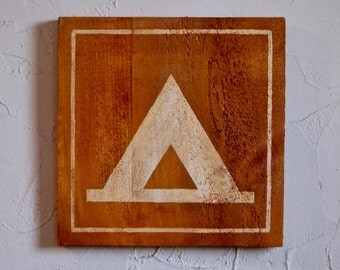 Campsite Symbol Hand Painted Wood Sign, camping, campsite, campsite indication, camp sign, campsite symbol, wooden campsite sign, camping