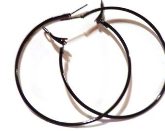 2.25 inch Hoop Earrings Black Hoop Earrings Classic Thin Hoop Earrings