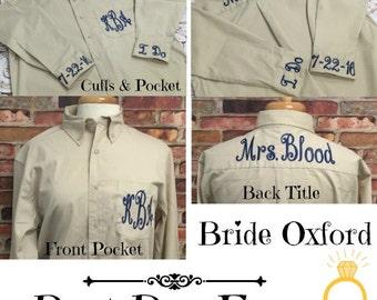 Bride Getting Ready Shirt/Bride Button Down Shirt/Bride Wedding Day Shirt/Bridesmaid Shirt/Bridesmaid Gift