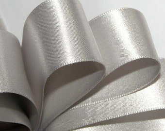 """70mm (3"""") SILVER   Double Satin Ribbon  =  2 Metres Ideal for Sashes or Belts"""