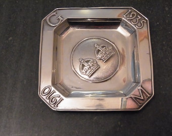 Antique Silver Jubilee 1910 - 1935 King George V and Queen Mary  Commemorative Silver Dish Silver Jubilee 1935 Silver Dish Birmingham 1934