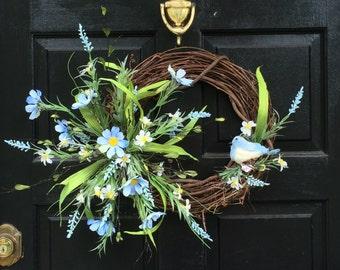 NEW LISTING 14 in spring, blue bird, blue flower grapevine wreath, Blue Bird, Front Door Wreath, Summer Wreath, Spring wreath  S-124