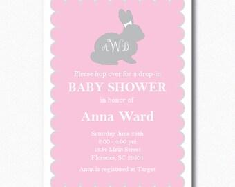 Girl Bunny Baby Shower Invitation