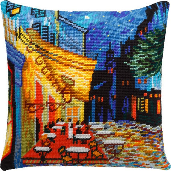 Night cafe terrace or Eagle, or Paisley, or Sea Pillowcase DIY cross-sticth embroidery kit, supply, Van Gogh repro, needlepoint set,