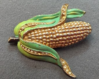 Vintage Corn Cob and Rhinestone Pot Metal Brooch-as is