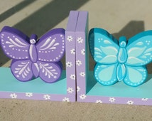 Bookends Purple Blue  Butteflies Childrens Bookends Toddler Fox Wood Personalized Wood Bookends Green