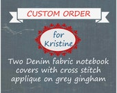 Denim Fabric Notebook Covers with Cross Stitch Applique